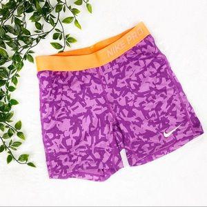 Nike Pro | Purple Pattern Spandex Shorts